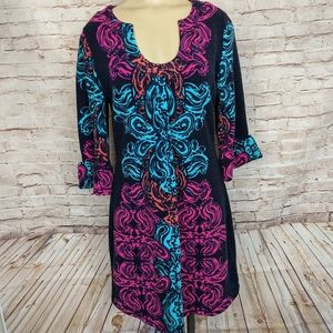 Aryeh Sweater Dress Paisley Scroll Print Boho